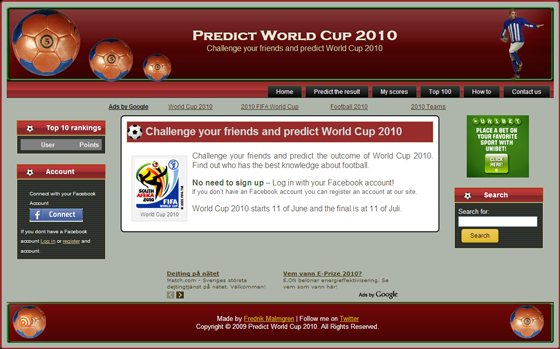 Predict World Cup 2010