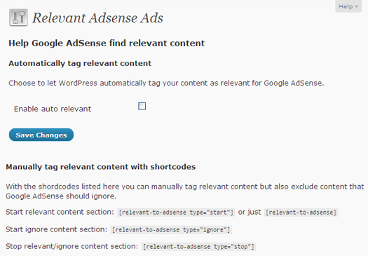 WordPress Relevant AdSense Ads